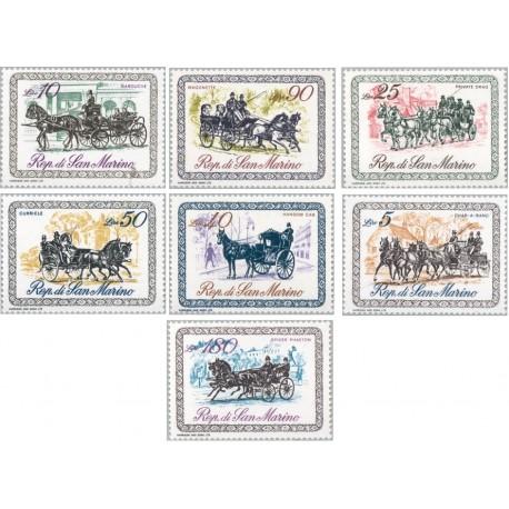 7 عدد تمبرکالسکه ها - سان مارینو 1969