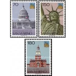 3 عدد تمبر دویستمین سالروز استقلال ایالات متحده آمریکا - سان مارینو 1976