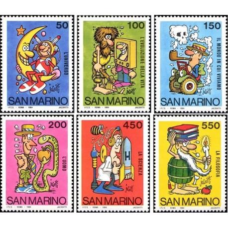 6 عدد تمبر مدرسه و طرحهای کارتونی فیلاتلی - اثر بنیتو جاکوویتی - سان مارینو 1984