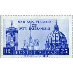 1 عدد تمبر 30مین سالگرد عهدنامه لتران - ایتالیا 1959