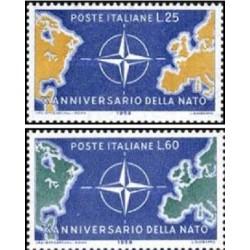 2 عدد تمبر دهمین سالگرد تشکیل ناتو - ایتالیا 1959