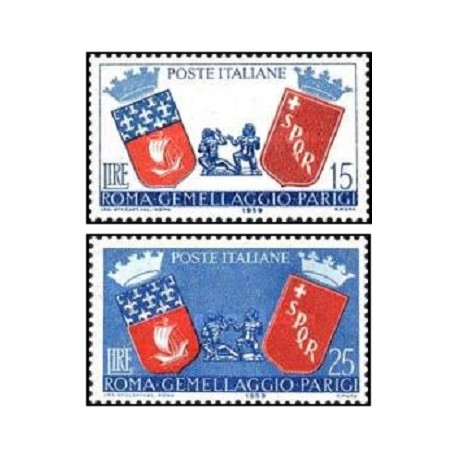 2 عدد تمبر روابط فرهنگی بین ایتالیا و فرانسه - ایتالیا 1959