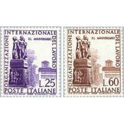 2 عدد تمبر چهلمین سالگرد سازمان بین المللی کار  ILO - ایتالیا 1959