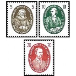 3 عدد تمبر دانشمندان مشهور - اویلر . هرتز و جانگیوس - جمهوری دموکراتیک آلمان 1957