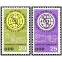 2 عدد تمبر صدمین سالگرد اتحادیه جهانی مخابرات - UIT - جمهوری دموکراتیک آلمان 1965