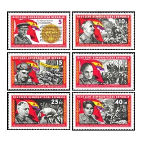 6 عدد تمبر قهرمانان مقاومت - جمهوری دموکراتیک آلمان 1966