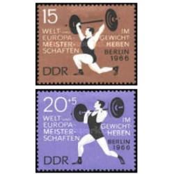 2 عدد تمبر قهرمانان وزنه برداری اروپا - جمهوری دموکراتیک آلمان 1966
