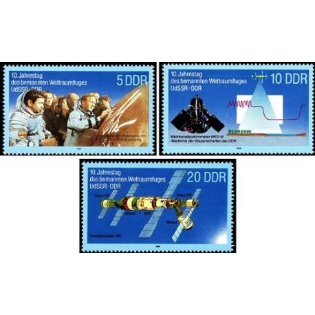 3 عدد تمبر دهمین سالگرد همکاری آلمان شرقی با شوروی در سفرهای فضایی - جمهوری دموکراتیک آلمان 1988