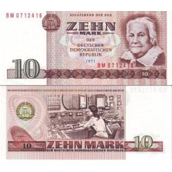 اسکناس 10 مارک - کلارا زتکین - جمهوری دموکراتیک آلمان 1971 ارقام سریال باریک - سفارشی - توضیحات را ببینید
