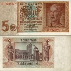 اسکناس 5 مارک - رایش بانک - رایش آلمان 1942  سریال 8 رقمی - سفارشی - توضیحات را ببینید