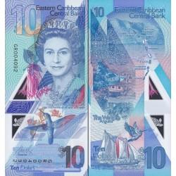 اسکناس پلیمر 10 دلار - تصویر ملکه الیزابت دوم - کارائیب شرقی 2019