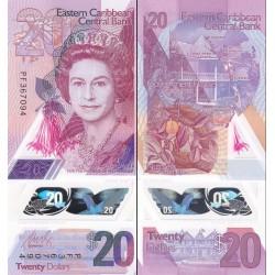 اسکناس پلیمر 20 دلار - تصویر ملکه الیزابت دوم - کارائیب شرقی 2019