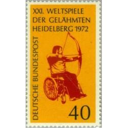 1 عدد تمبر فستیوال ورزشی معلولان - جمهوری فدرال آلمان 1972