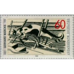1 عدد تمبر صدمین سالگرد تولد گرهارد مارک - هنرمند لیتوگراف و مجسمه ساز - جمهوری فدرال آلمان 1989
