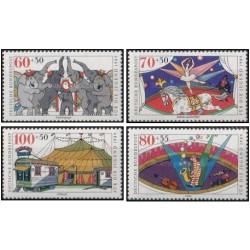 4 عدد تمبر خوابگاه جوانان - سیرک - جمهوری فدرال آلمان 1989 قیمت 13 دلار