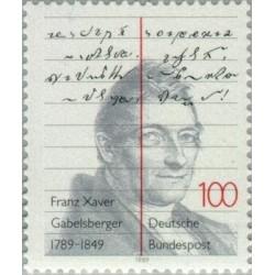 1 عدد تمبر دویستمین سالگرد تولد فرانتس خاویر گابلزبرگر - تندنویس - جمهوری فدرال آلمان 1989