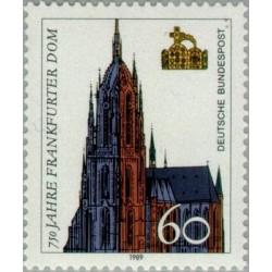 1 عدد تمبر 750مین سالگرد کلیسای جامع فرانکفورت - جمهوری فدرال آلمان 1989
