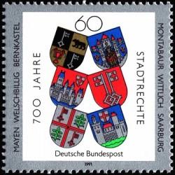 1 عدد تمبر 700مین سال تخصیص حقوق شهری - جمهوری فدرال آلمان 1991