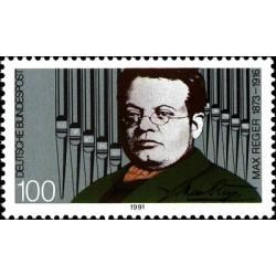 1 عدد تمبر 75مین سال درگذشت ماکس رگر - آهنگساز - جمهوری فدرال آلمان 1991