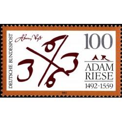 1 عدد تمبر پانصدمین سالگرد تولد آدام رییس - ریاضیدان - جمهوری فدرال آلمان 1992
