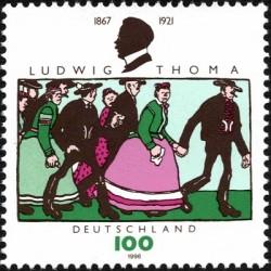 1 عدد تمبر پنجاهمین سال درگذشت لودویک توماس - نویسنده - جمهوری فدرال آلمان 1996