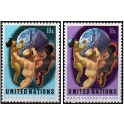 2 عدد تمبر سال جهانی جمعیت - نیویورک سازمان ملل 1974