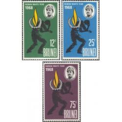 3 عدد تمبر سال حقوق بشر - برونئی 1968