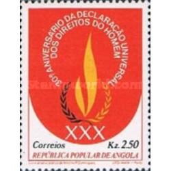 1 عدد تمبر 30مین سالگرد بیانیه حقوق بشر - آنگولا 1979