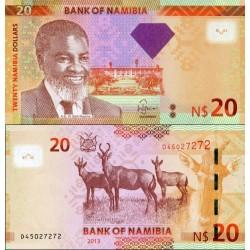 اسکناس 20 دلار - نامیبیا 2013 الماس به سمت راست انتفال داده شده