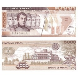 اسکناس 5000 پزو - مکزیک 1987 سری HX