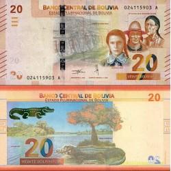 اسکناس 20 بولیویانوس - بولیوی 1986