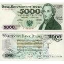 اسکناس 5000 زلوتیچ - لهستان 1982
