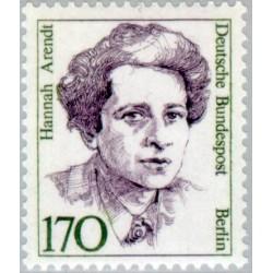 1 عدد تمبر سری پستی زنان نامدار -   Hannah Arendt - فیلسوف -برلین آلمان 1988