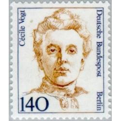 1 عدد تمبر سری پستی زنان نامدار -Cécile Vogt- دانشمند عصب شناس - برلین آلمان 1989 قیمت 5.6 دلار