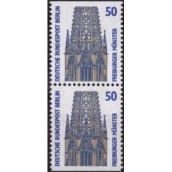 2 عدد تمبر سری پستی چشم اندازها - جفت بوکلتی - 50 فنیک - برلین آلمان 1987