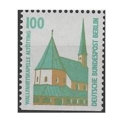 1 عدد تمبر سری پستی چشم اندازها - 100 فنیک - پایین بیدندانه - برلین آلمان 1989