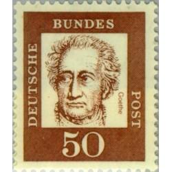 1 عدد تمبر سری پستی جرمن های نامدار - 50 فنیک - جان ولفگانگ فون گوته - جمهوری فدرال آلمان 1961