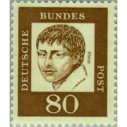 1 عدد تمبر سری پستی جرمن های نامدار - 80 فنیک - هاینریش فون کلیست - جمهوری فدرال آلمان 1961