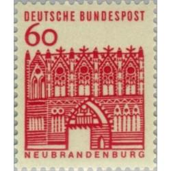 1 عدد تمبر سری پستی ساختمانها آلمان از قرن دوازدهم - 60 فنیک - جمهوری فدرال آلمان 1964