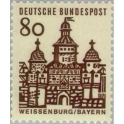 1 عدد تمبر سری پستی ساختمانها آلمان از قرن دوازدهم - 80 فنیک - جمهوری فدرال آلمان 1964