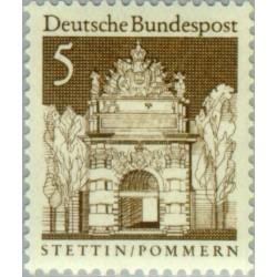 1 عدد تمبر سری پستی ساختمانها آلمان از قرن دوازدهم - 5 فنیک - جمهوری فدرال آلمان 1966