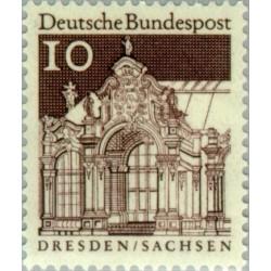 1 عدد تمبر سری پستی ساختمانها آلمان از قرن دوازدهم - 10 فنیک - جمهوری فدرال آلمان 1966