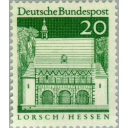 1 عدد تمبر سری پستی ساختمانها آلمان از قرن دوازدهم - 20 فنیک - جمهوری فدرال آلمان 1966