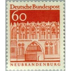1 عدد تمبر سری پستی ساختمانها آلمان از قرن دوازدهم - 60 فنیک - جمهوری فدرال آلمان 1966