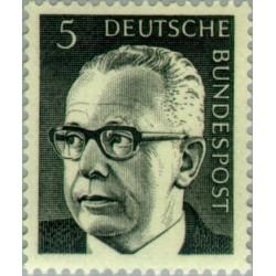 1 عدد تمبر سری پستی گوستاو هاینمان - 5 فنیک  - جمهوری فدرال آلمان 1970