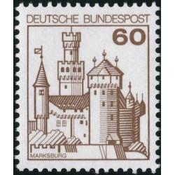 1 عدد تمبر سری پستی کاخها و قلعه ها - 60 فنیک  - جمهوری فدرال آلمان 1977