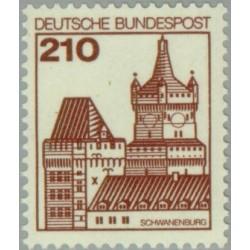 1 عدد تمبر سری پستی کاخها و قلعه ها - 210 فنیک  - جمهوری فدرال آلمان 1978