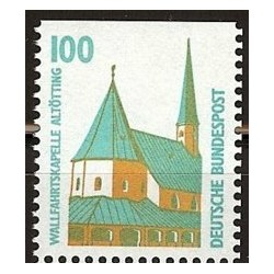 1 عدد تمبر سری پستی چشم اندازها - 100 فنیک - بالا بیدندانه - جمهوری فدرال آلمان 1989