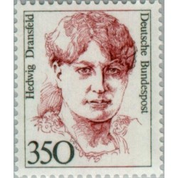 1 عدد تمبر سری پستی زنان نامدار - 350 فنیک - Hedwig Dransfeld- سیاستمدار - جمهوری فدرال آلمان 1988