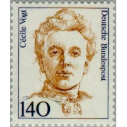 1 عدد تمبر سری پستی زنان نامدار - 140 فنیک - Cécile Vogt - عصب شناس - جمهوری فدرال آلمان 1989